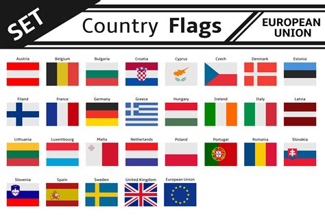 flags of the world by country set countries flags european union illustrations