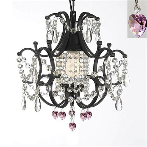 Pink Heart Chandelier Gallery Mini Wrought Iron Crystal Chandelier In Pink