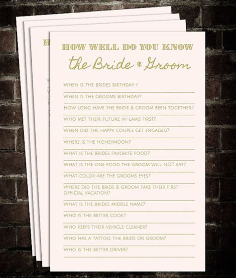 wedding shower how well do the and groom each other how well do you the and groom blush by therabbittree bridal shower