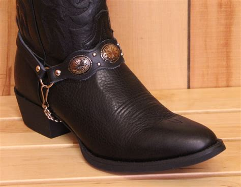 boot straps alm mm680 ndv boot scalloped black leather with