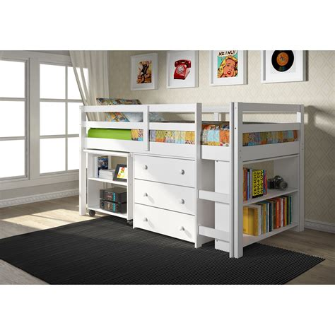 low loft bed with desk donco kids low study loft desk twin bed with chest and