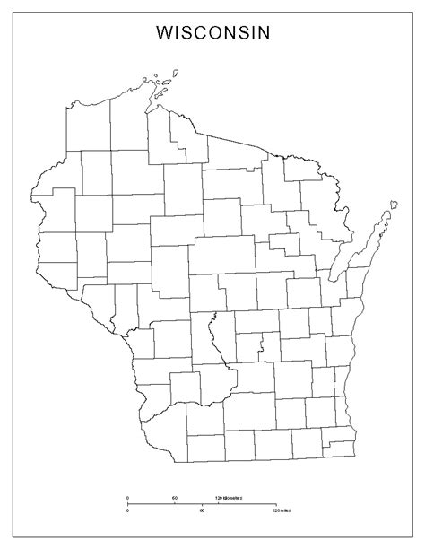 wi county map wisconsin blank map
