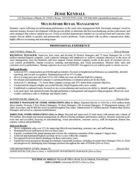 retail manager resume exles and sles retail sales resume objective