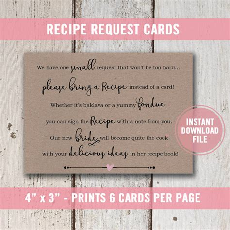 invitation wording for a recipe bridal shower bridal shower invitation bridal shower recipe card for