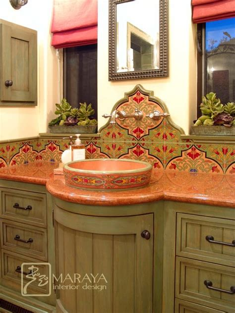 Spanish Tile Bathroom Ideas | spanish bathroom with malibu tile mediterranean