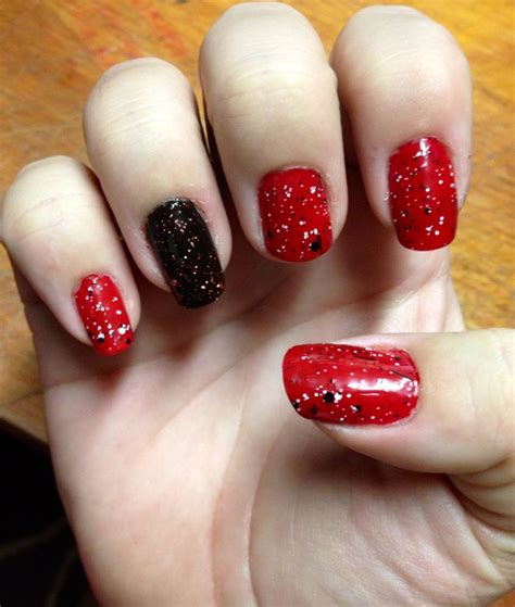 easy nail art red halloween nails red black with red glitter and newsprint