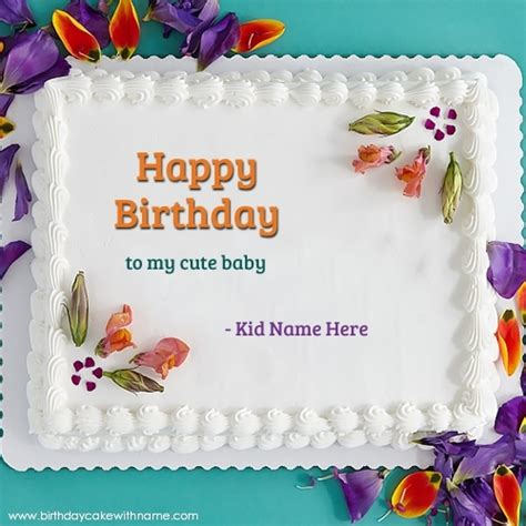 Happy Birthday Wishes To My Baby Write Name On Happy Birthday To My Cute Baby Cake Pics