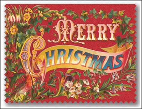 deco vintage merry christmas cards