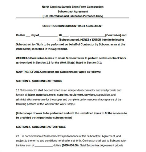 contract for work to be performed template subcontractor agreement template 16 free word pdf