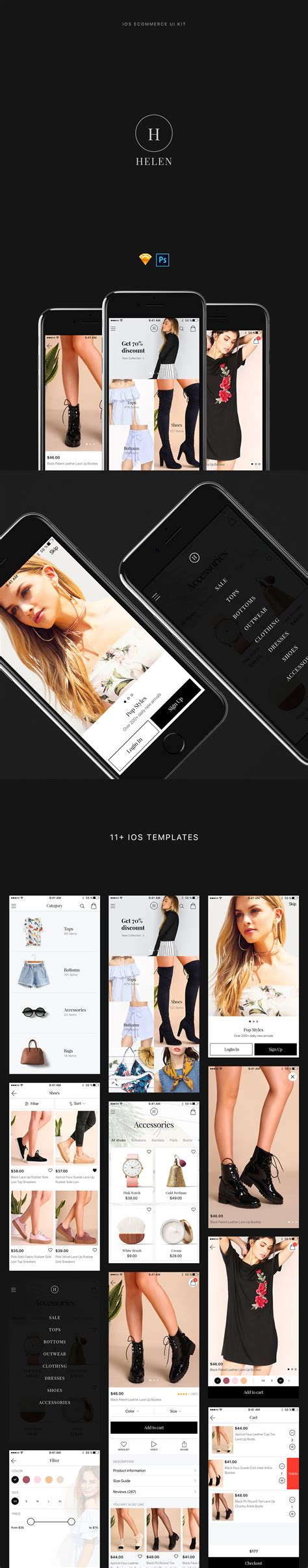 phoenix app design ui kit for psd sketch freebiesui helen ios ecommerce ui kit 11 free screens for psd