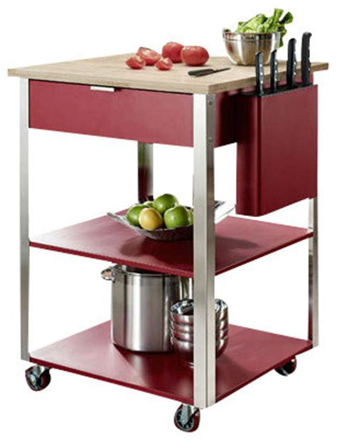 Red Kitchen Island Cart by Culinary Prep Kitchen Cart In Red Traditional Kitchen