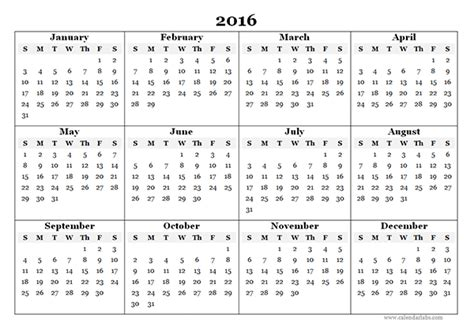 calendar 2016 template 2016 yearly calendar template 07 free printable templates