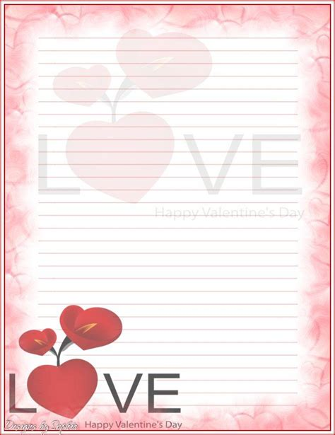 free printable valentine lined paper 105 best images about valentines stationery on pinterest