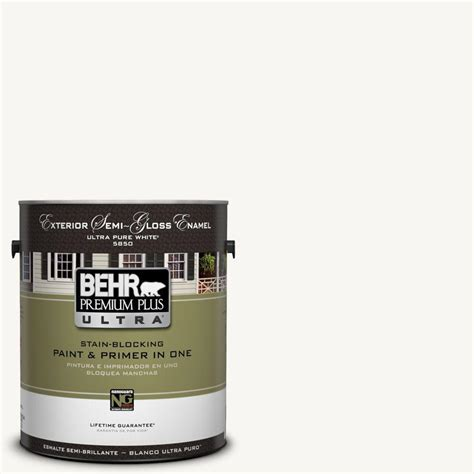 behr premium plus ultra 1 gal ul260 14 ultra white semi gloss enamel exterior paint