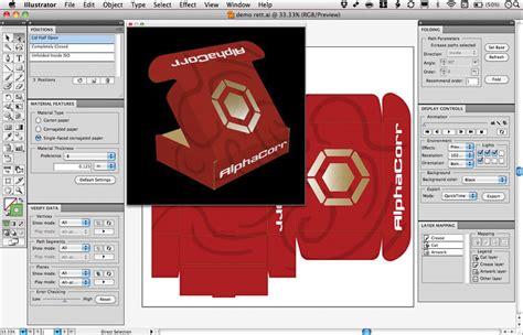 layout design in illustrator cad for display packaging steel rule die design