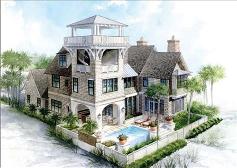 house plans with towers beach house plans with tower home design and style