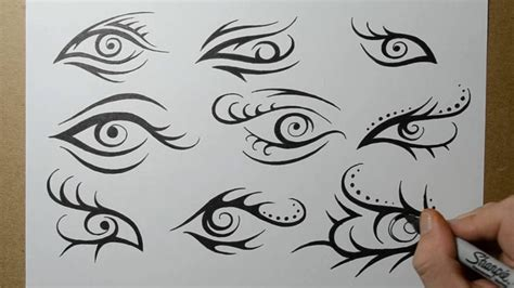tribal eye tattoo designs sketching ideas youtube