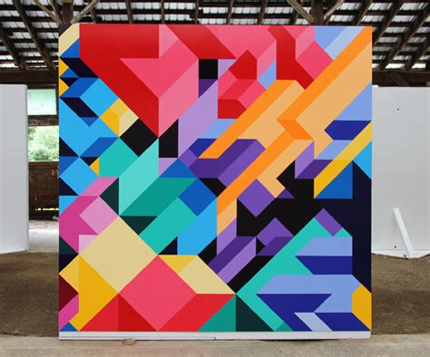 bold geometric paintings by adam daily the fox is black