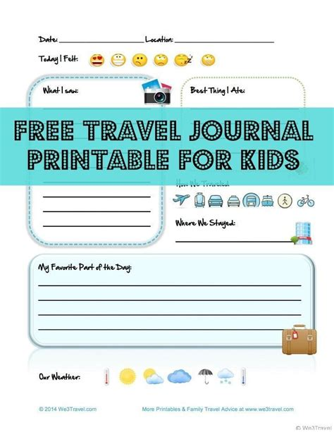 printable vacation journal free kid travel journal printable travel journal for
