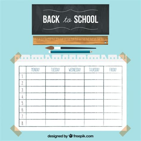 timetable template with chalkboard and ruler vector