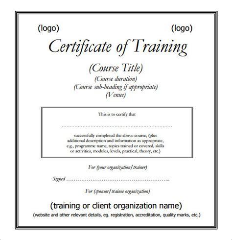 Sample Training Certificate Template   6  Documents in PSD