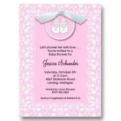 Pink shoe ribbon baby shower invitations