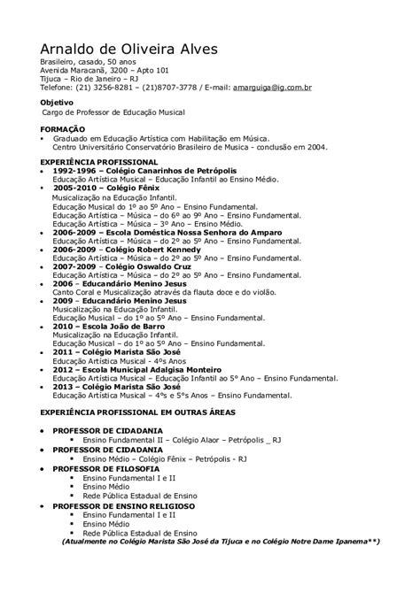 Modelo Curriculum Vitae Profesor Professor De Musica Curriculo Arnaldo Alves
