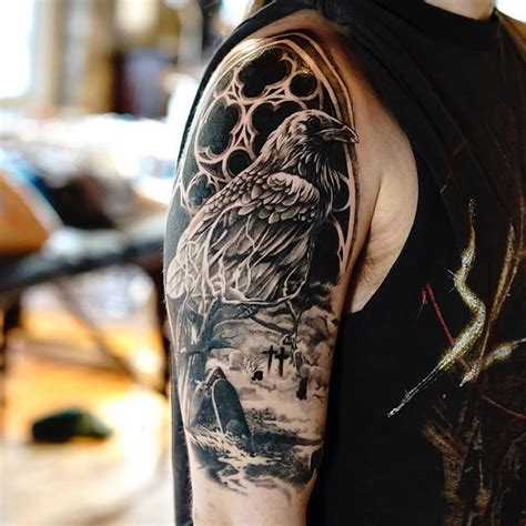 cemetery tattoos 42 impressive graveyard and cemetery designs for