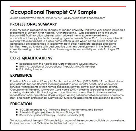 Occupational Therapy Resume by Occupational Therapist Cv Sle Myperfectcv