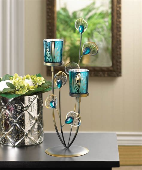 Peacock Home Decor Wholesale | peacock plume candle holder wholesale at koehler home decor