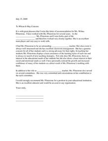 Reference Letter Additional Comments Letter Of Recommendation For Teaching Position Letter Of