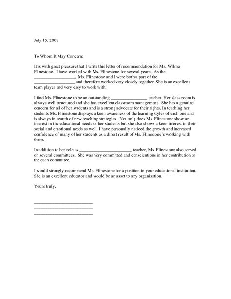 Reference Letter Format For Teachers Letter Of Recommendation For Teaching Position Letter Of