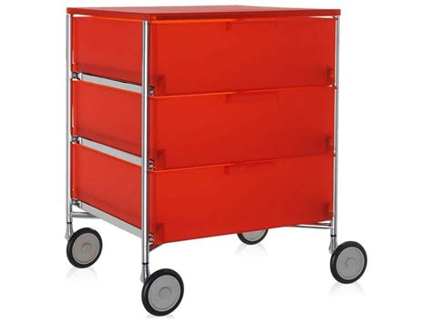 Nightstand With Wheels by Kartell Mobil Orange 19 Wide Rectangular Three Drawers