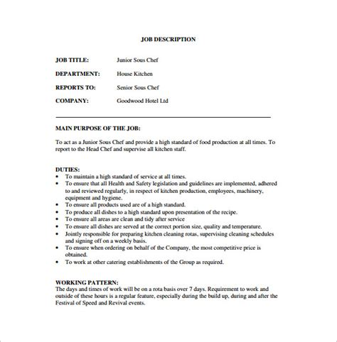 sous chef description template 8 free word pdf