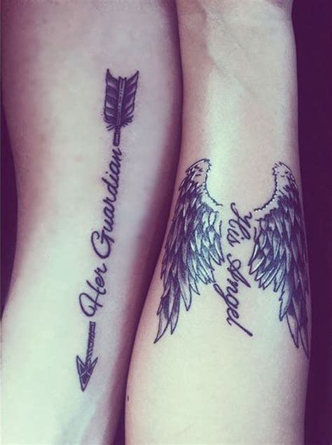bow and arrow tattoo for couples grey ink angel wings and arrow quote tattoo for couple