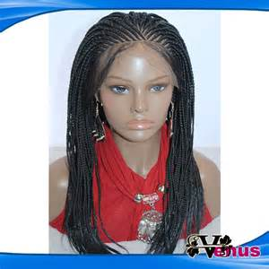 braide thin black hair braided synthetic lace front wig long synthetic thin hand