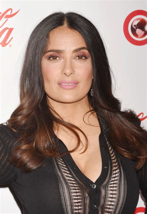 salma hayek fashion layered black to blonde ombre hair for