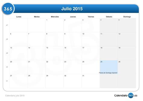 Calendario Julio 2015 Calendario Julio 2015