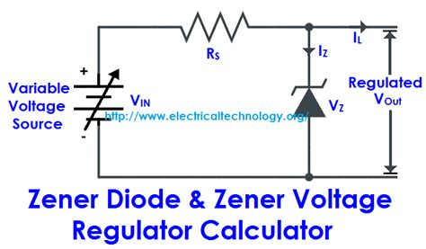 circuit diagram for zener diode as voltage regulator zener diode zener voltage regulator calculator electrical technology