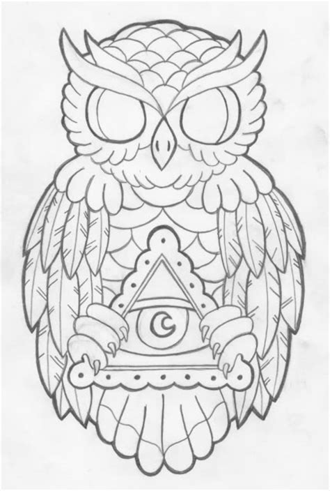 Owl Tattoo Line Drawing | image gallery owl line drawing