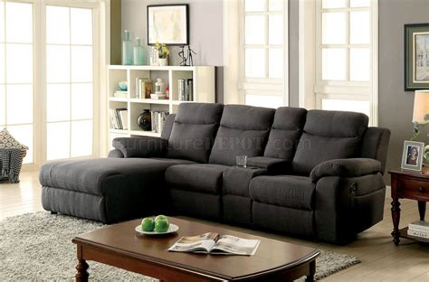 Gray Sectional Sofa With Recliner Kamryn Reclining Sectional Sofa Cm6771gy In Gray Fabric