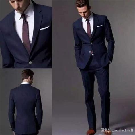 Custom Made Dark Navy Blue Men Suit 2018 Fashion Groom