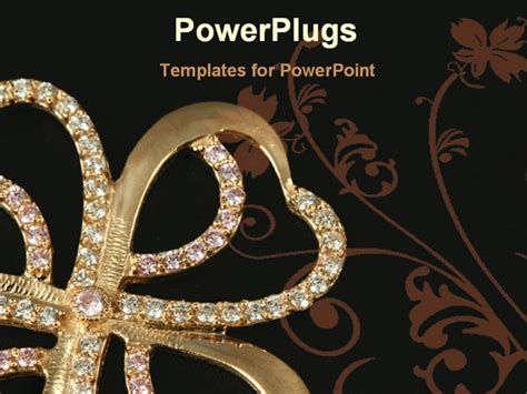 powerpoint templates jewellery golden brooch in a black background powerpoint template