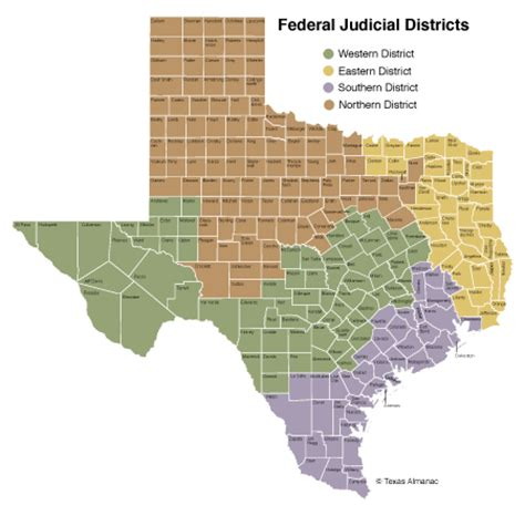 texas federal district court map government texas almanac