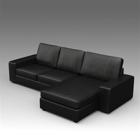 Ikea Kivik Leather Sofa 3d Model Leather Sofa Ikea