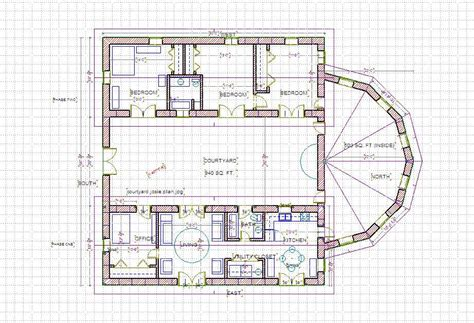 house plans with a courtyard a straw bale house plan 375 sq ft