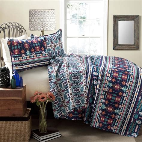 Navy King Quilt Shop Lush Decor Navajo 3 Navy Turquoise King Quilt