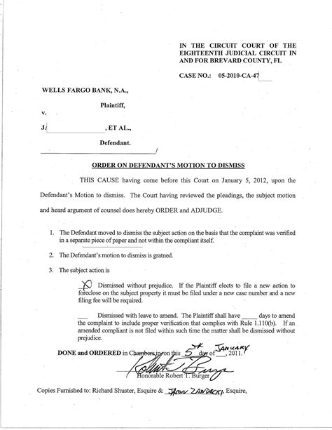 Motion To Dismiss With Prejudice Template by Florida Foreclosure Defense 2012