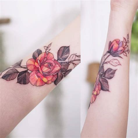 flower tattoo cover up forearm scar cover red rose tattoo on the inner forearm tattoo