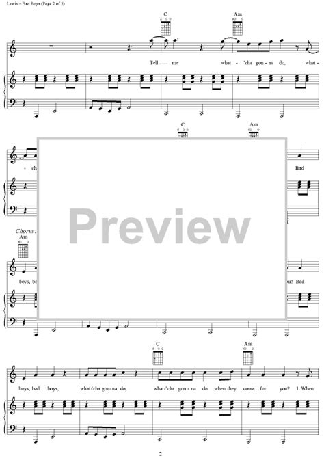 theme music lewis bad boys theme from quot cops quot sheet music for piano and